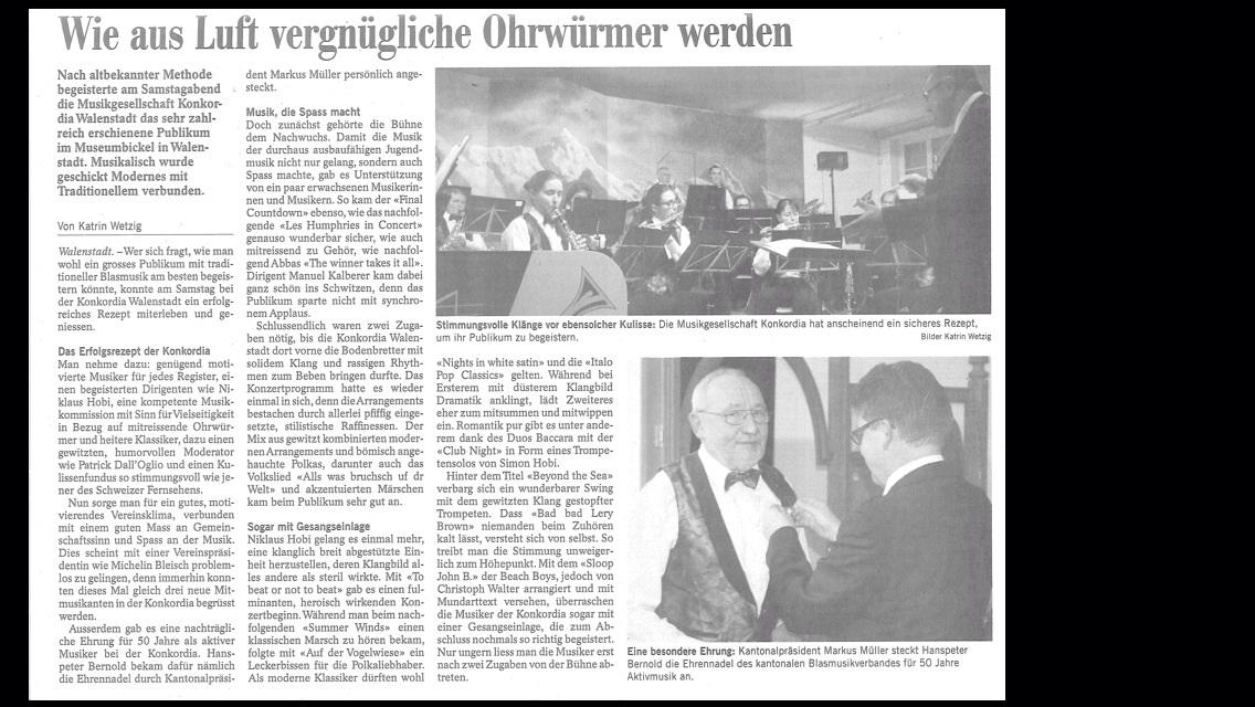 Bericht zum Jahreskonzert im Museum Bickel 2014: