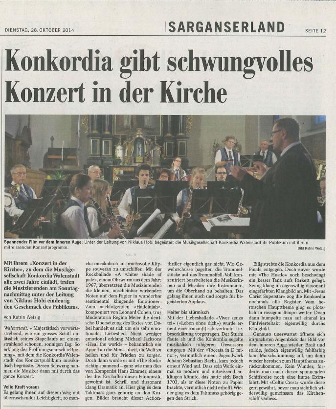 Bericht zum Konzert in der Kirche 2014: