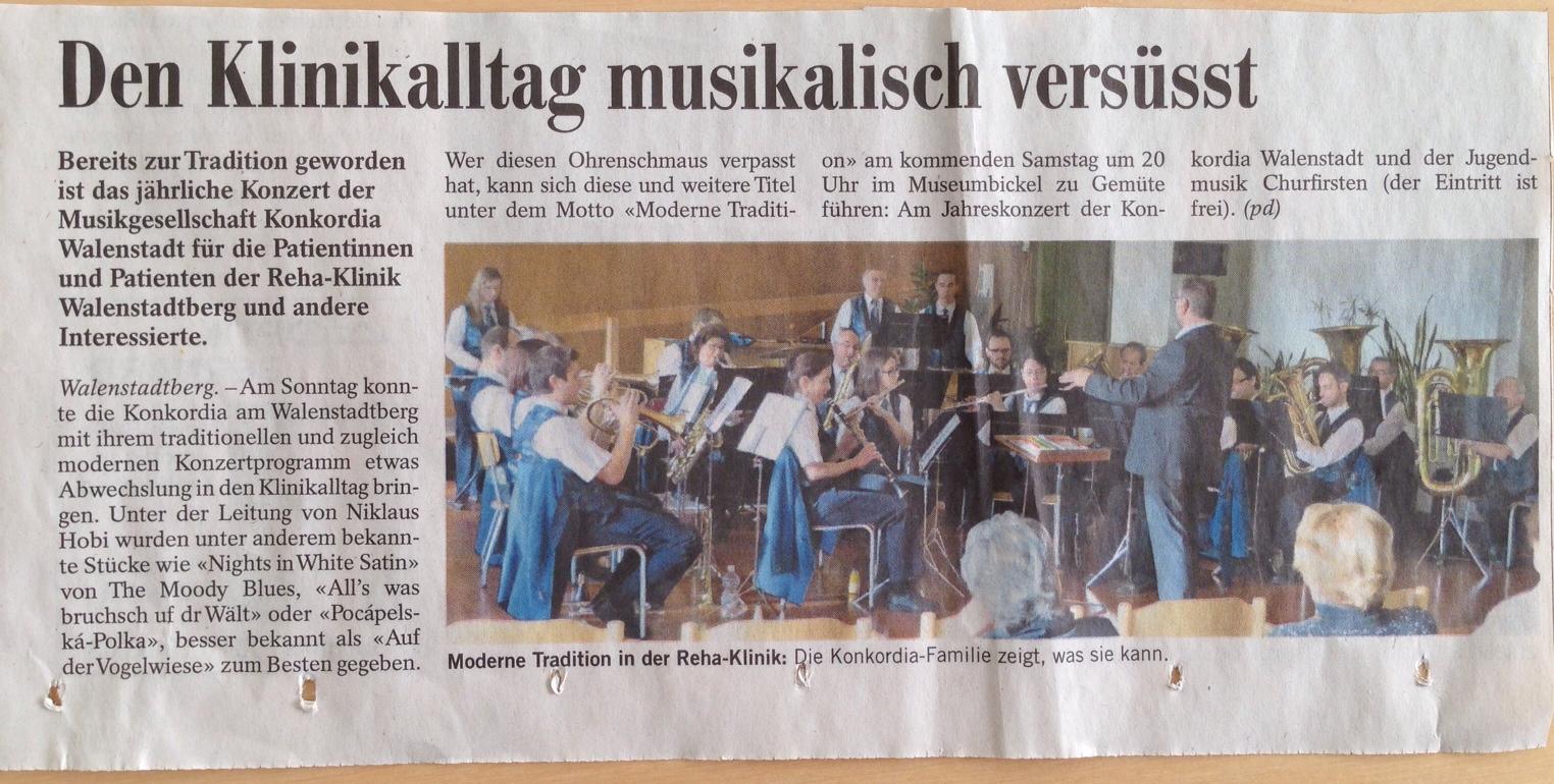 Bericht zum Konzert in der REHA-Klinik Walenstadtberg 2014