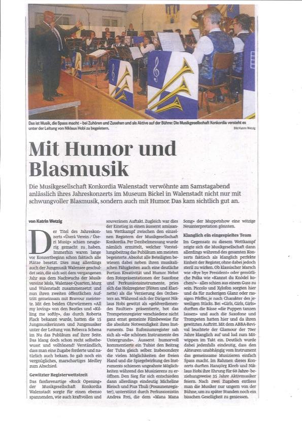 """Bericht zum Jahreskonzert """"Üserä Verein / üseri Musig"""" 2016:"""